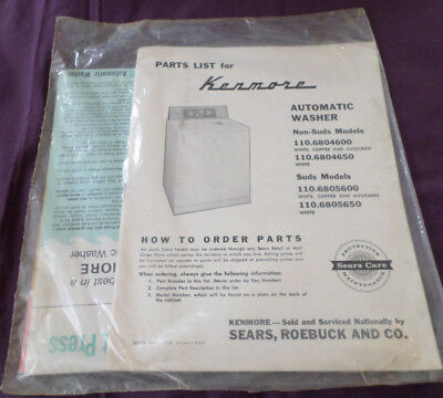 VINTAGE Parts List for Kenmore Automatic Washer Pkg w all inserts UNOPENED