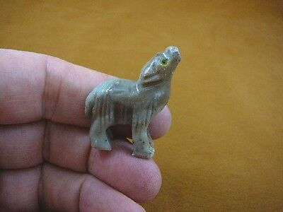(Y-COY-57) gray tan COYOTE wolf wild dog carving SOAPSTONE stone PERU FIGURINE