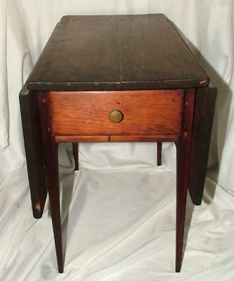 Antique Wood Salesman's Sample Drop Leaf Drawer Table Doll Child Furniture