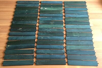 Old Vtg Antique Green Crackle Paint Art Craft Wood Shutter Hanger Slat Lot Of 48