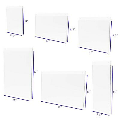 Wall Mount Sign Holder Clear Acrylic Picture Frame Transparent Poster Frame