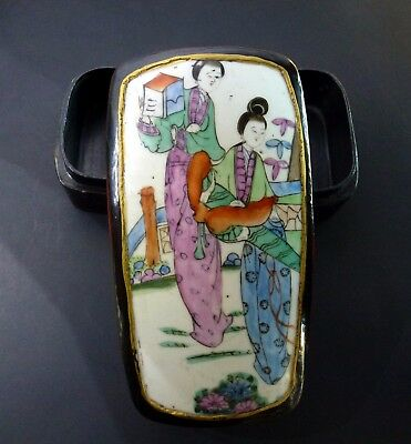 Vtg Chinese Lacquered Box With Antique Shard Hand Painted Porcelain