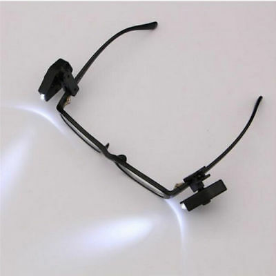 Flexible Portable Eyeglass Travel Book Reading Eyeglass Light Lamp Mini LED Clip