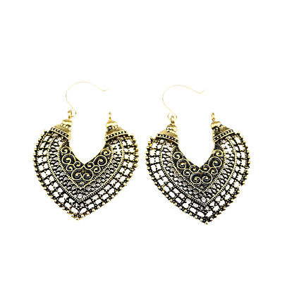 Tribal Electroplated Antique Silver Bronze Hoop Earrings Carved Hollow Heart