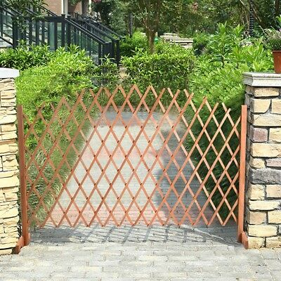 Expanding Portable Wooden Fence Safety Gate Child Dog Cat Barrier Brown