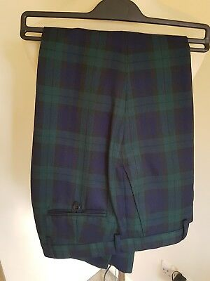 New Mens Bespoke Green & Black Watch Tartan Golf Trousers, 34 Regular (Slim Fit)