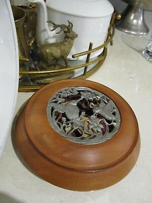 Wauchope Timbertown  turned potpourri bowl with Honey eater birds pewter insert