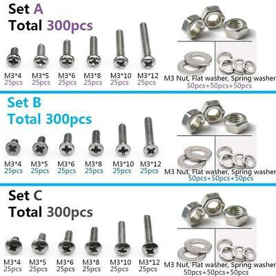 Stainless Steel Phillips Screws Bolt & Hex Nuts Washers Assortment 300pcs M3 304