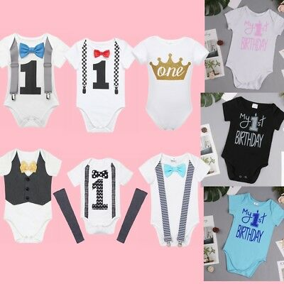 Baby 1st First Birthday Romper infant Girls Boy Cake Smash Bodysuit Party Outfit