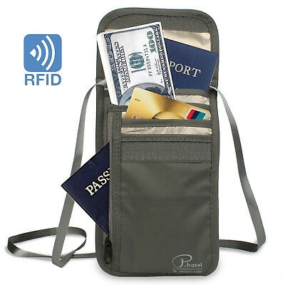 RFID Blocking Neck Bag Water Resistant Passport with Card Sleeves Wallet in Grey
