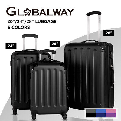 Globalway 3PC Luggage Suitcase Trolley Set TSA Lock Travel Hard Case Lightweight