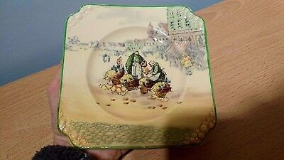 Royal Doulton Flower Sellers Small Square Embossed Plate.D4785,1930.Ex Condition