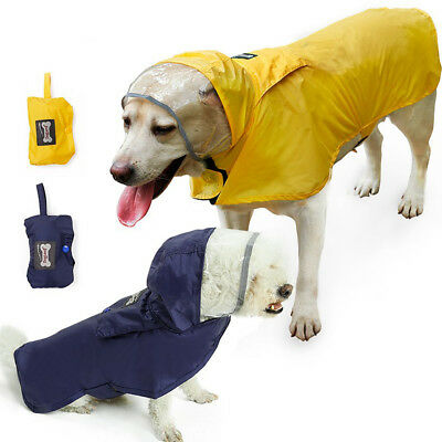 Pet Dog Puppy Cat Waterproof Raincoat Jacket Rainwear Hoodie Reflective