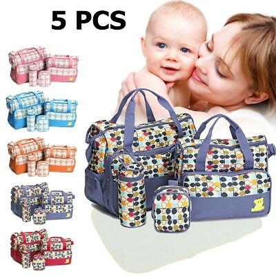 5 Pcs Baby Nappy Changing Bag Set Diaper Bags Shoulder Handbag Mommy Bag Travel