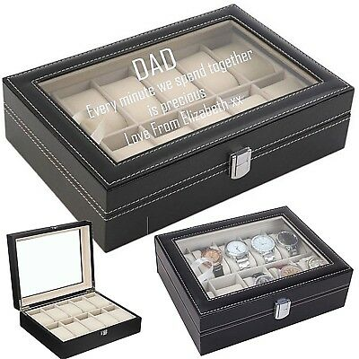 Personalised engraved watch box watch display case Fathers Day Father's Day Dad