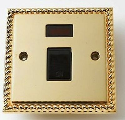 Double Pole Wall Socket Switch with Neon Georgian Brass 20 Amp Switched