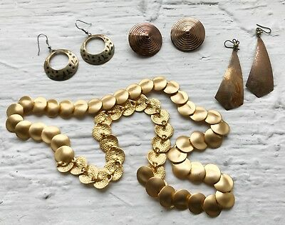 4 VINTAGE 1980's-90's Chic GOLD-TONE Statement EARRINGS Gypsy Coins HIP BELT Lot