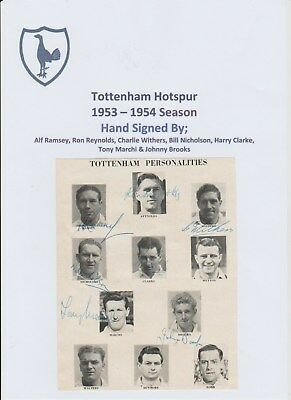 Tottenham Hotspur 1953-1954 Rare Original Autographed Team Group 7 X Signatures