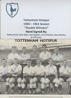 Tottenham Hotspur 1960-1961 Rare Original Autographed Team Group 6 X Signatures