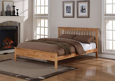 Pentre Solid Wooden Bed Frame Shaker Style In White Oak Single Double King Size