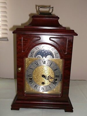 Large Mahogany Musical Triple Chime / Moon Phase Franz Hermle Bracket Clock