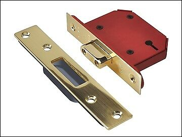"UNION StrongBOLT 2103S 3 Lever Mortice Deadlock Polished Brass 81mm 3"" Visi"