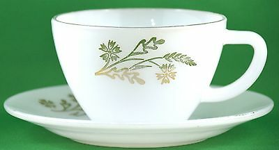 Vtg Federal Milk Glass Cup & Saucer with Gold Trim & Flower