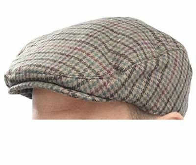 Tom Franks Brown Green Stripe Large/Extra-Large Mens Flat Checked Cap