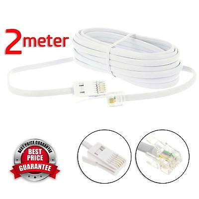 2m RJ11 to BT Modem Cable Lead Telephone Phone Plug BT Socket 4 PIN Crossover