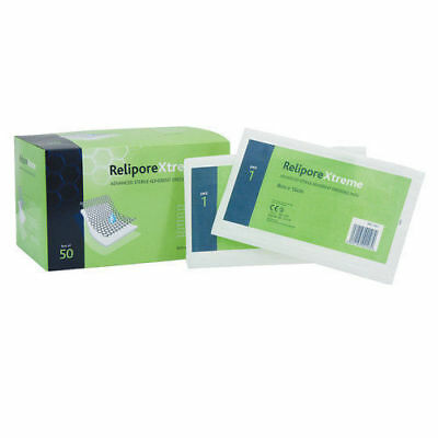 Pack of 50 Relipore Xtreme Advanced Adhesive Sterile Dressing Pads 8cm x 16cm