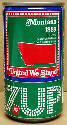 7UP United We Stand Montana The Treasure 41st State 1889 Steel Can