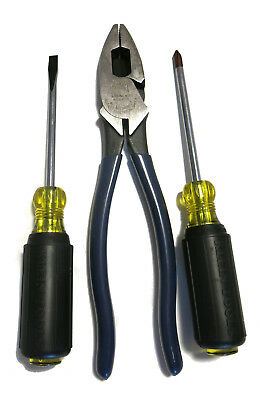 Klein Tools USA High-Leverage Pliers D213-9NE and 2 screwdrivers No. 6054 & 6034