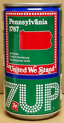 7UP United We Stand Pennsylvania The Keystone 2nd State 1787 Steel Can