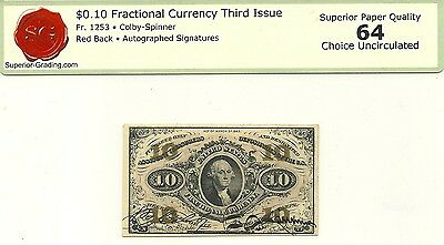 Fractional 10 Cent 3Rd Issue Fr 1253 Red Back Autograph Sigs Choice Crisp New