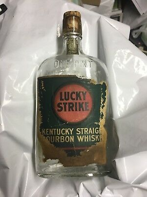 antique empty Pint bottle Lucky Strike American Rye Whiskey w/ label- Old Ky Tax