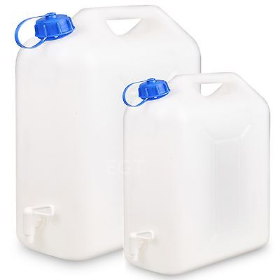 10 or 20L Plastic Water Jerry Can Liquid Carrier Drum Pouring Spout Tap Drinking