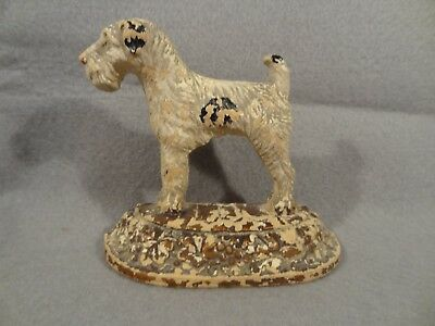 Vintage Old PAINTED Dog TERRIER AIREDALE Book End? Wall Decor? RUSTIC FIGURINE