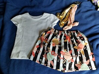 Girls Toddler Clothing Size 2T New Handmade Floral Skirt, Cotton Blouse with Bow