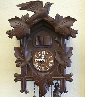 Vintage German Black Forest Wood Carving Hunt CUCKOO CLOCK Bird Pine Cone Weight