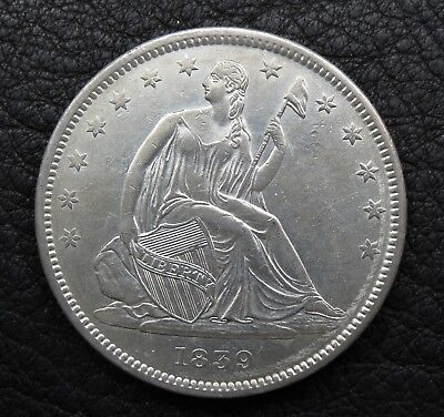 1839 Seated Liberty Silver Half Dollar with Drapery, Nice Au coin