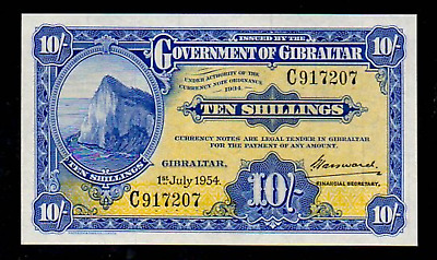 GIBRALTAR P14c 1954 10 SHILLINGS SUPERB GEM UNCIRCULATED BANK NOTE CURRENCY