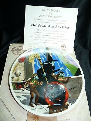 """Knowles Wizard of Oz 8 1/2"""" Plate """"Wicked Witch of the West"""" with Box + COA"""