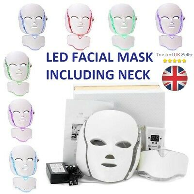 LED Light Photon Face Neck Mask Rejuvenation Skin Facial Therapy Wrinkle 7 Color