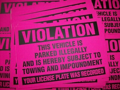 50-Pink Violation Parked illegally Towing Warning Impound No Parking Stickers