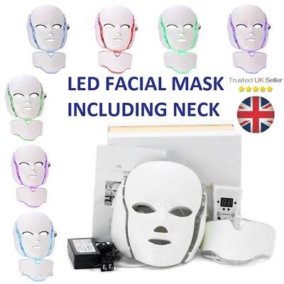 LED Light Photon Face + Neck Mask Rejuvenation Skin Facial Therapy Wrinkle UK