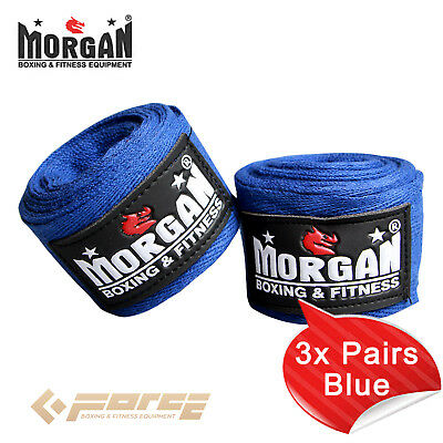 MORGAN Muay Thai Kick Boxing MMA COTTON HAND WRAPS 180 Pink 3X Pairs Blue!