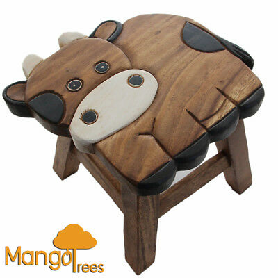 Mango Trees Solid Timber Hand Carved Kids Wooden Stool Cow Design!