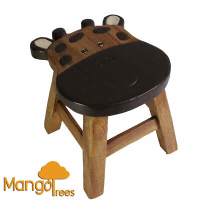 Mango Trees Solid Timber Hand Carved Kids Wooden Stool Giraffe Design!