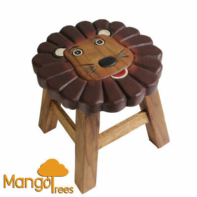 Mango Trees Solid Timber Hand Carved Kids Wooden Stool Lion Design!