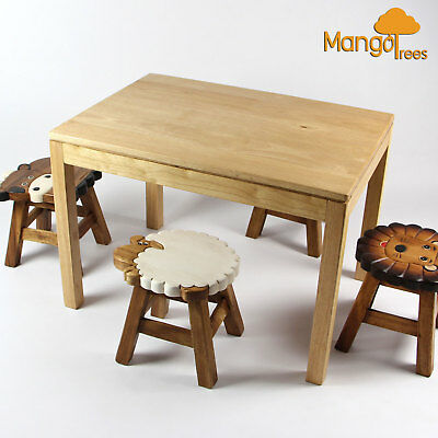 Mango Trees Solid Timber Hand Carved Kids Wooden Stool Pig Design!